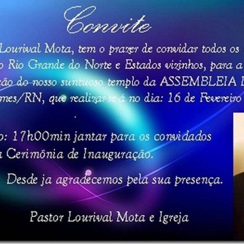 CONVITE: Inauguração do novo templo em Luís Gomes-RN