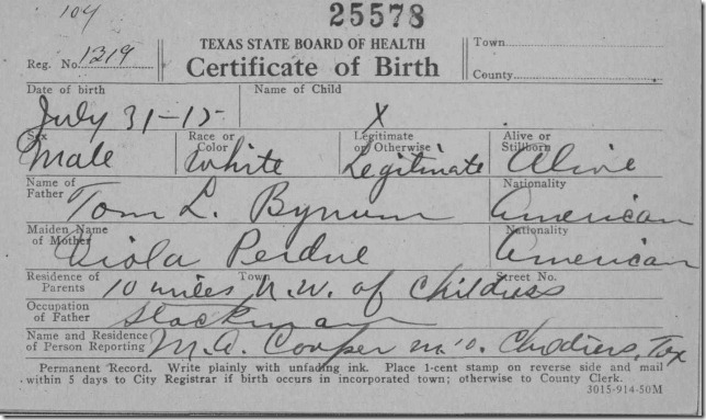 Bynum Birth cert