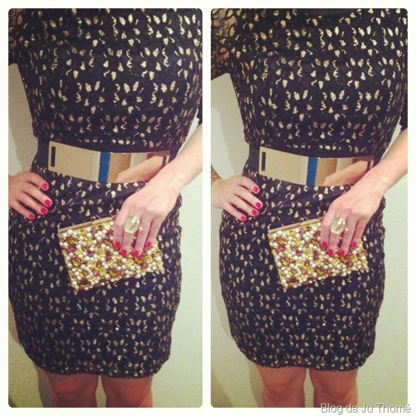 look formatura clutch Cyntia Fontanella, vestido de renda e cinto de metal detalhes