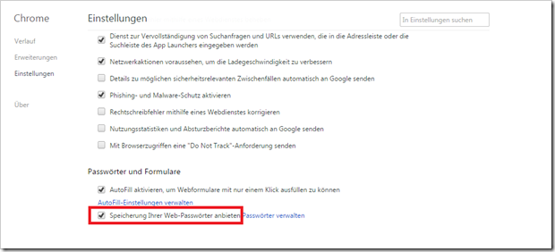 Chrome speichert keine Passwörter ab.