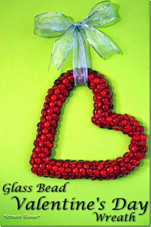 Glass bead Valentines day heart wreath