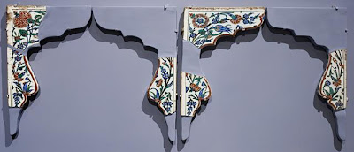 Tile Spandrels (Partially Reconstructed) | Origin: Turkey, Iznik | Period:  Late Islamic | Collection: The Madina Collection of Islamic Art, gift of Camilla Chandler Frost (M.2002.1.232a-f) | Type: Ceramic; Architectural element, Fritware, underglaze-painted, Individual spandrel, as restored: 16 1/4 x 17 13/16 x 7/8 in. (41.27 x 45.24 x 2.22 cm)