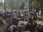 Getting ready to leave Camp Baldwin, we get the horses saddled up