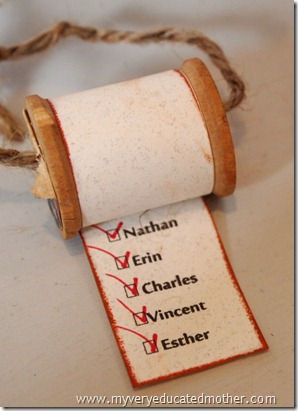 @mvemother #NUO2012 Wooden Spool Christmas List Ornament