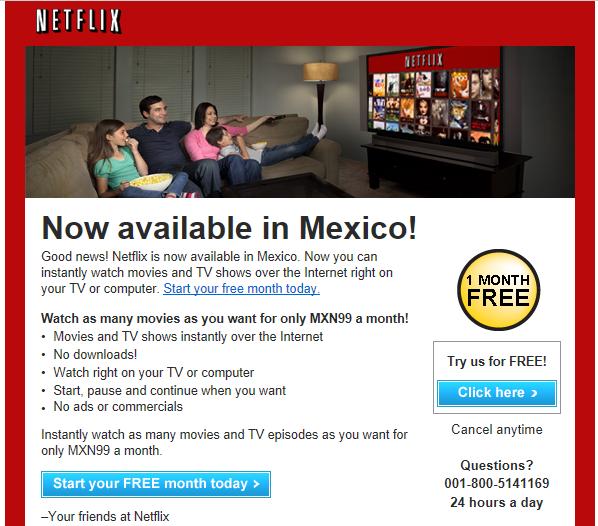 Netflix Mexico alert email