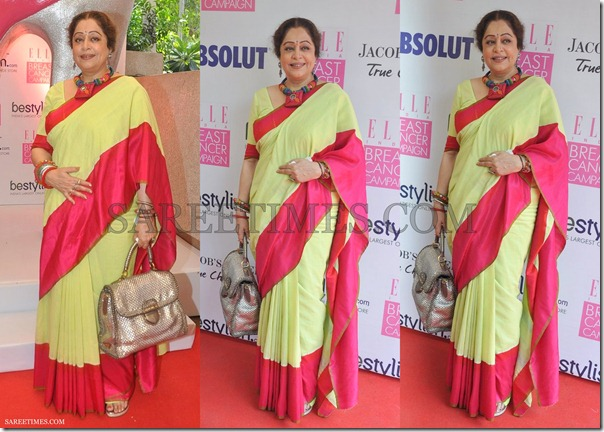 Kirron_Kher_Green_Red_Saree