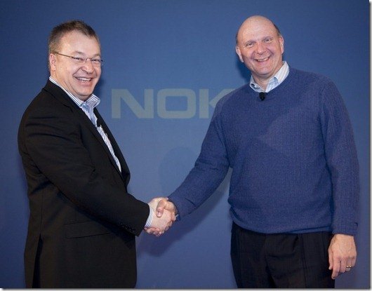 Nokia CEO Stephen Elop (left) and Microsoft CEO Steve Ballmer address the Senior Leadership Event before they announce plans for a broad strategic partnership to build a new global mobile ecosystem . Nokia and Microsoft plan to form a broad strategic partnership that would use their complementary strengths and expertise to create a new global mobile ecosystem.