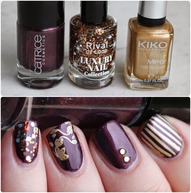 Autumn Nail Art Herbst Nageldesign Mix Match Skittle Purple 000