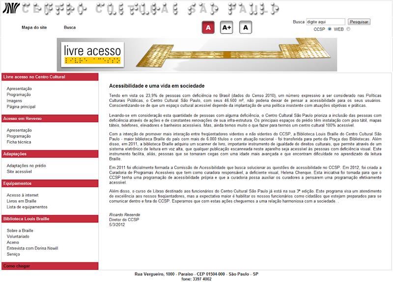 imagem do site centro cultural