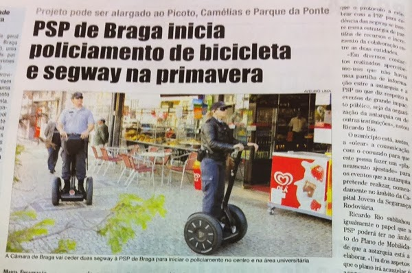 PSP de Braga vai ter patrulhas em bicicleta e Segway a partir da primavera