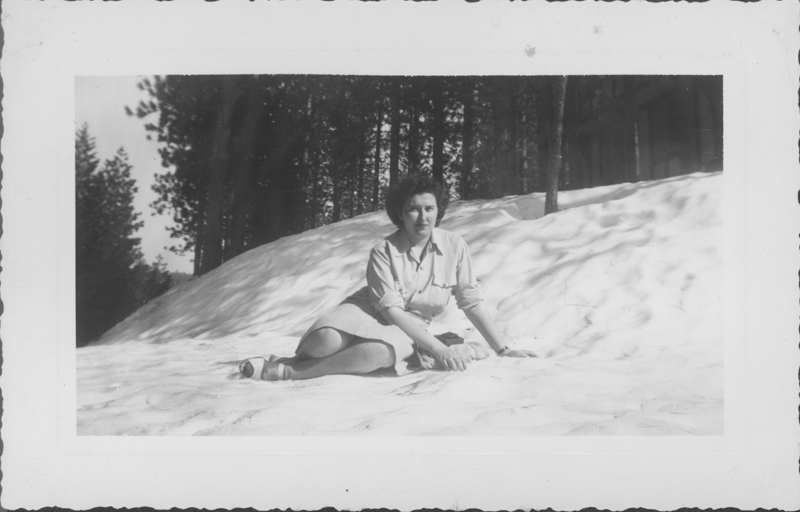 Esther Herbert at Lake Arrowhead on a weekend trip. April 1944.