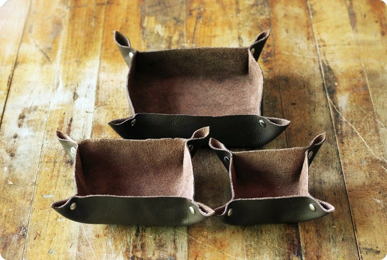 trio of small leather trays for trinkets