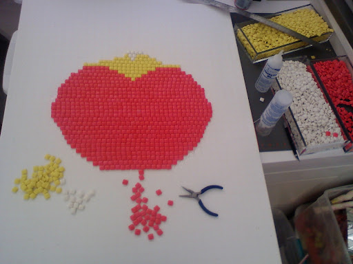 Here, the first stages of our gum mosaic.