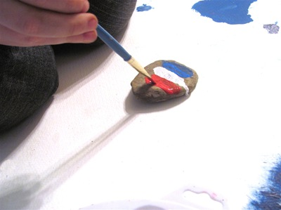Montessori Tidbits: painting France rocks