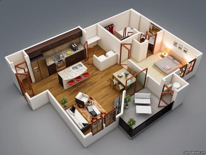 Mô hình thiết kế căn hộ chung cư 1 phòng ngủ