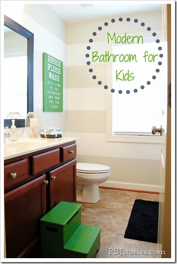 Modern Bathroom Makeover for Kids on PBJstories.com