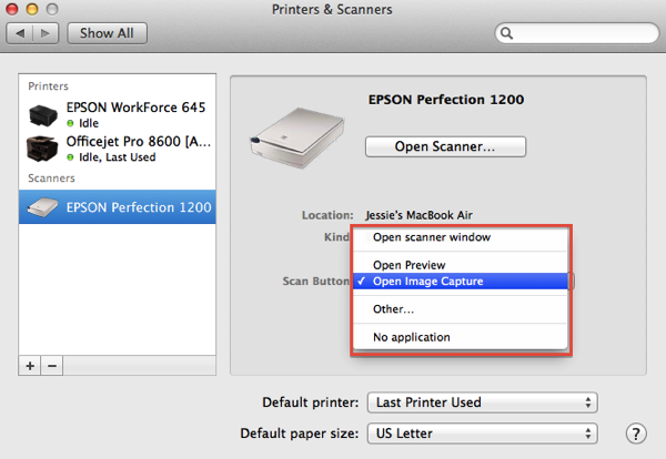 Printer and Scanner Preference Pane setting up the Scanner s Scan button
