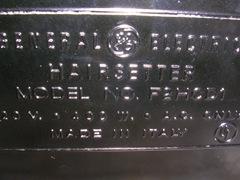 General Electric F2HCD1 Hairsetter, imprint