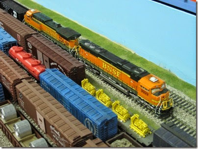 IMG_5456 BNSF SD70M #9929 & AC4400CW #5648 on the LK&R HO-Scale Layout at the WGH Show in Portland, OR on February 17, 2007
