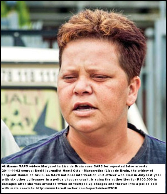 DE BRUIN MARGARETHA SUES SAPS FOR FALSE ARRESTLOCKED UP WITH MEN IN POLICE CELLS nov12011