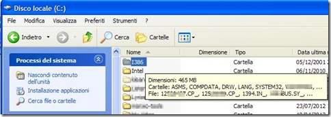 Cartella i386 con i file di installazione di Windows XP