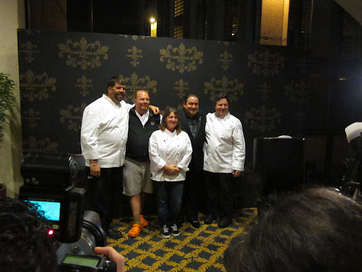 Chefs Kevin Rathbun, Mario Batali, Gale Gand, and Norman Van Aken joined Emeril to present a decadent five-course meal for 750 guests.