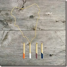 Geometric Necklace, Brass Long Rectangle Colorblock