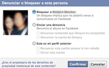Denunciar o Bloquear a esta persona en Facebook