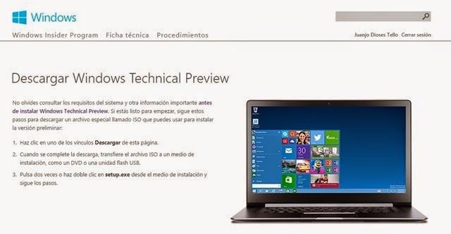 Cuánto pesa la versión prueba de Windows 10