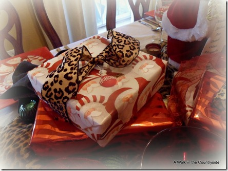 a walk in the countryside: santa and leopard table