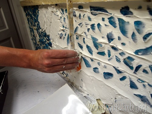 Grouting your Mosaic Backsplash {Sawdust and Embryos}