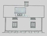 Fasadritning, takkupa före ombyggnad