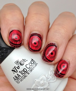 MoYou Explorer Collection 07 over Pacifica Flourescent Sunset with MoYou black stamping polish