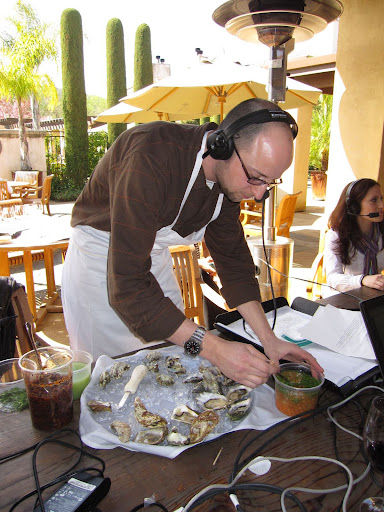 Adrian Hoffman of the Lark Creek Restaurant Group prepared a variety of oysters and sauces for us.