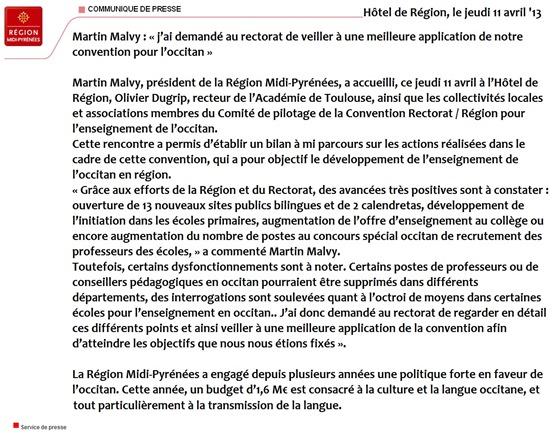 Comunicat de Martin Malvy abrial 2013