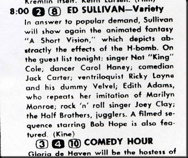 Lo-06-10-56 TV Guide Sullivan Listing