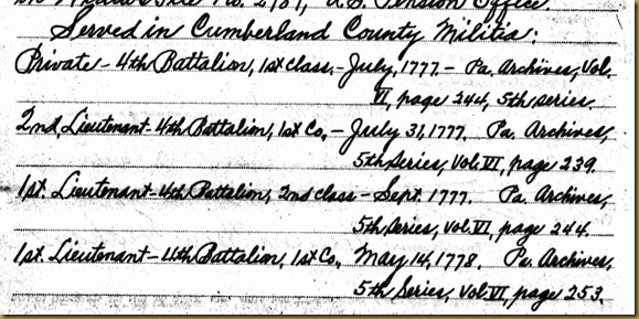 Captain William Graham Military Record from his widow's pension application