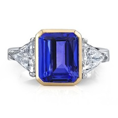 Emerald Cut Tanzanite and Diamond Three Stone Ring
