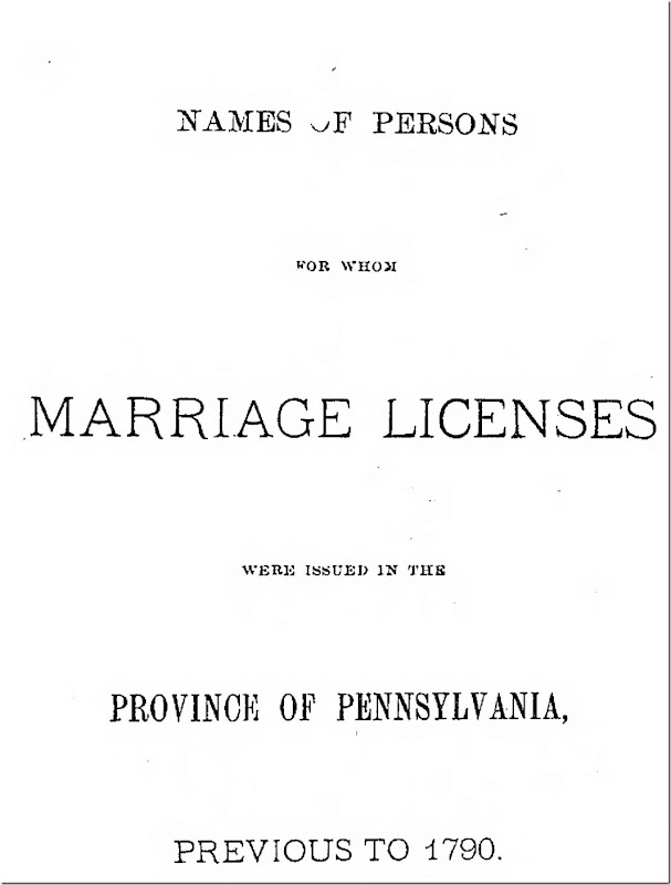 Pennsylvania Archives Series 2 Volume 2 Pennsylvania Marriages Page 1