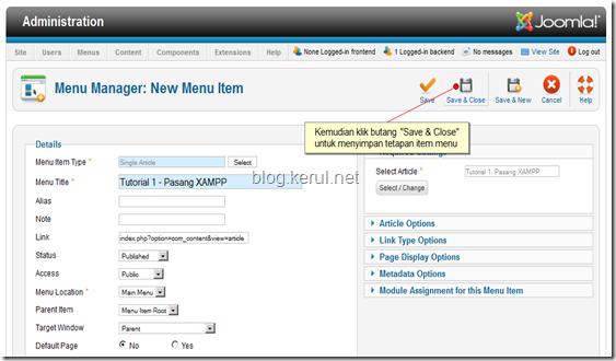 menu Joomla! 1.7 - simpan tetapan menu item