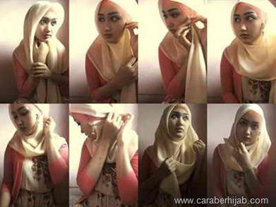 Cara Memakai Hijab Segiempat