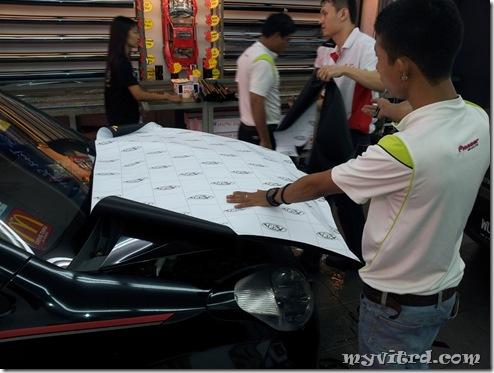 install sticker carbon fiber 2
