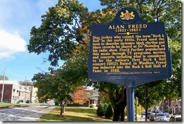 Alan Freed marker looking east toward Miner's Park