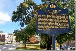 Alan Freed marker looking east toward Miner's Park