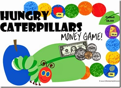 Hungry Caterpillars Money Game - A free printable game for Preschool, Kindergarten, 1st grade, 2nd grade, and 3rd grade kids to learn to count money