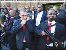 MALEMA brought his body guards with their AK47s inside the Equality Court at his hatespeech trial DID NOT GET ARRESTED