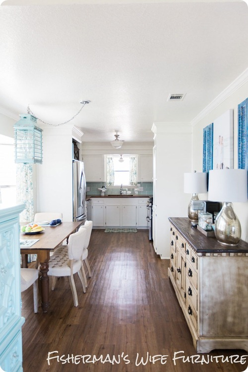 white kitchen aqua accents