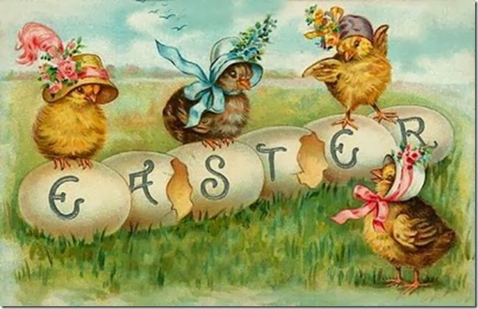 Easter chicks spelling Easter vintage