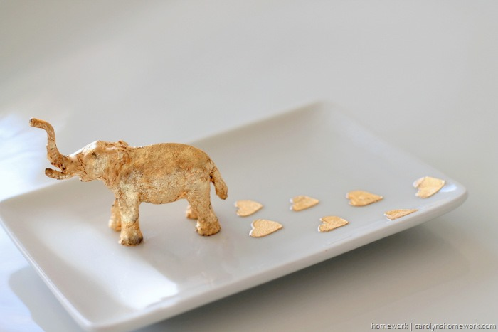 Gold Leaf Elephant Trinket Dish by homework (2)