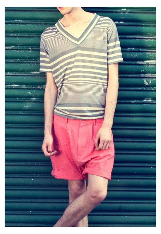 Nice! Available online (for the very first time) at Marketplace, get your hands on some garms from this young gun and enjoy classic tailoring that's taking on new shapes and unexpected colour a whirl. The grey stripe tee and drop crotch coral shorts are perfect examples. Atta boy.